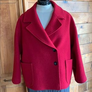 1.2.3 Paris red, double breasted wool pea coat